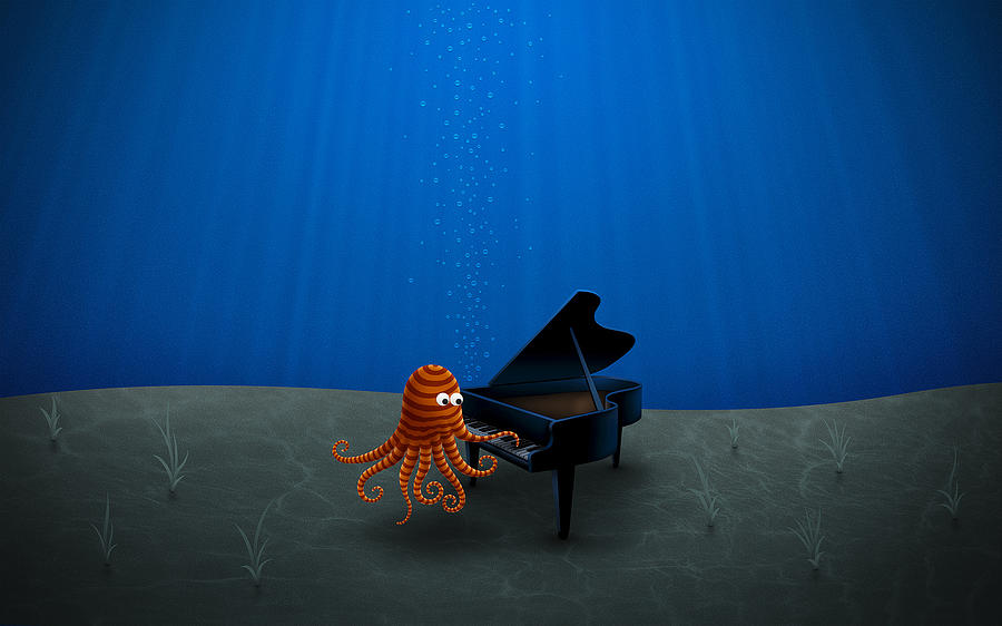 Piano Playing Octopus Drawing