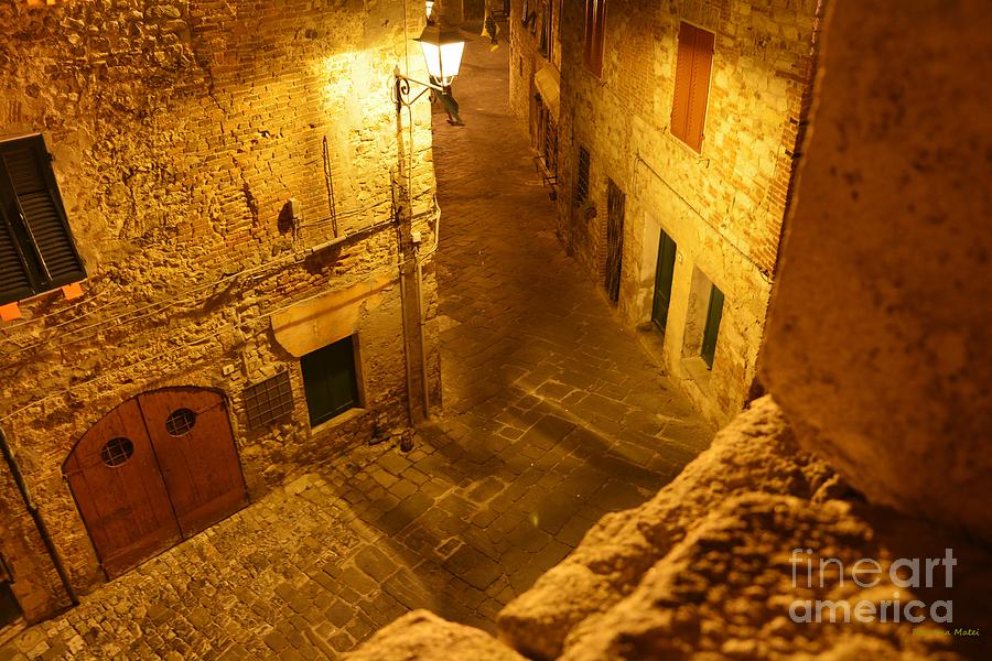 Piazza By Night In Tuscany Photograph