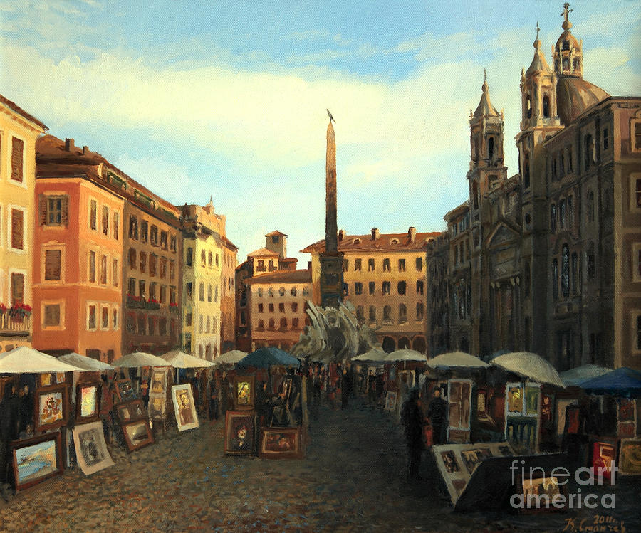 Ancient Painting - Piazza Navona In Rome by Kiril Stanchev