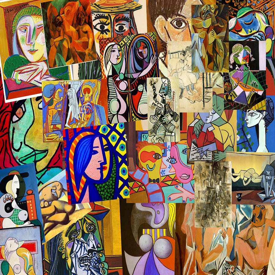 Picasso collage digital art by galeria zullian trompiz for Collage de cuadros