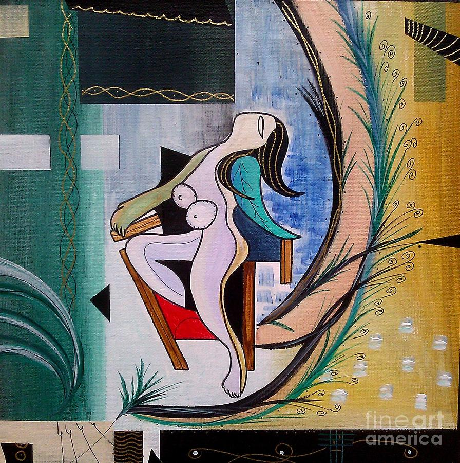 Picasso-esque Nude Woman In Chair Painting  - Picasso-esque Nude Woman In Chair Fine Art Print
