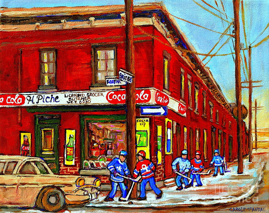 Piche's Corner Grocery Store Painting - Piches Grocery Store Bridge Street And Forfar Goosevillage Montreal Memories By Carole Spandau by Carole Spandau