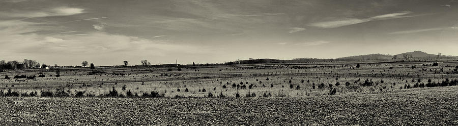 Picketts Charge From Seminary Ridge In Black And White Photograph