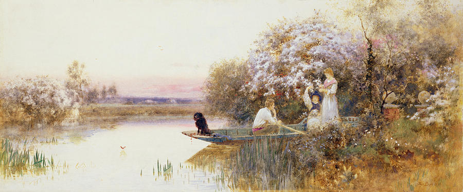 Landscape Painting - Picking Blossoms by Thomas James Lloyd