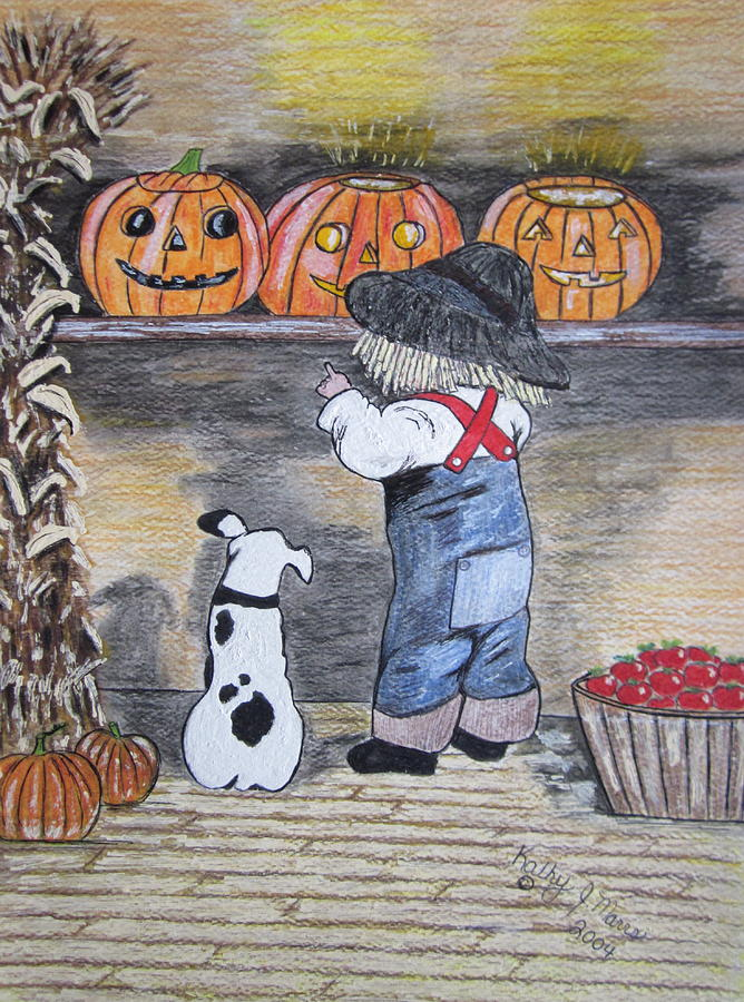 Picking Out The Halloween Pumpkin Painting  - Picking Out The Halloween Pumpkin Fine Art Print