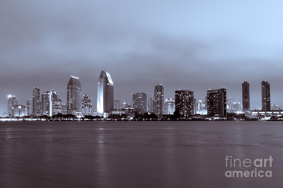Picture Of San Diego Skyline At Night Photograph  - Picture Of San Diego Skyline At Night Fine Art Print