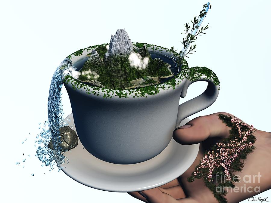 Surreal Print Digital Art - Piece Of Nature Cup by Eric Nagel
