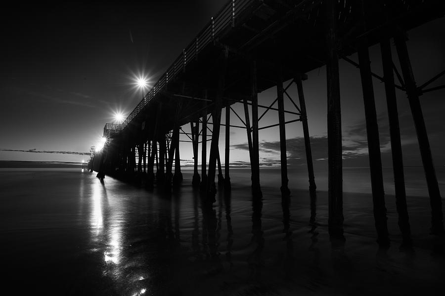Pier Lights - Black And White Photograph