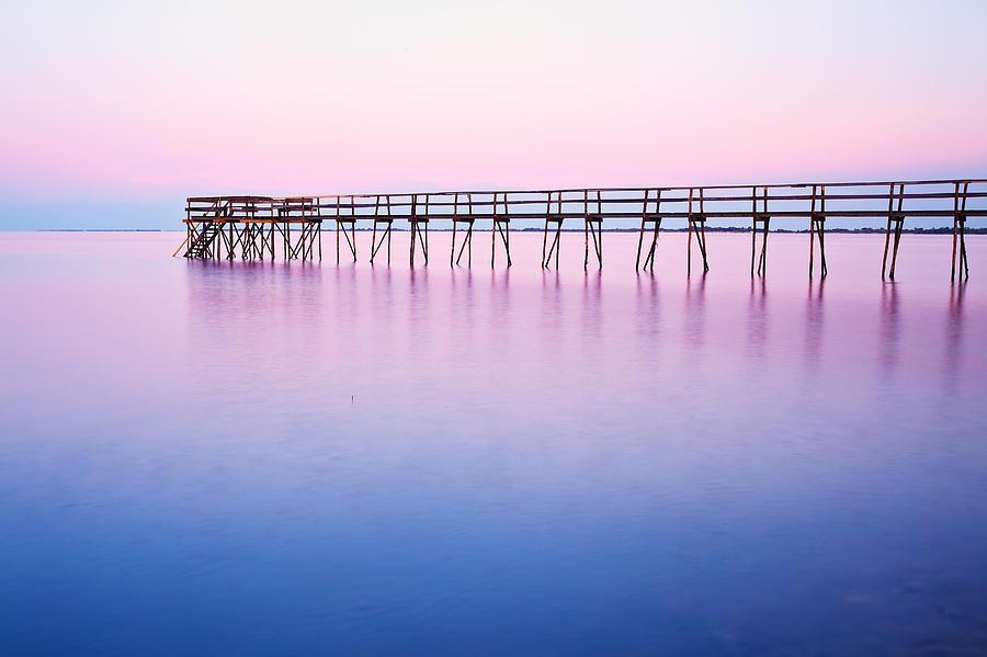 Light Photograph - Pier On Lake Winnipeg by Ken Gillespie