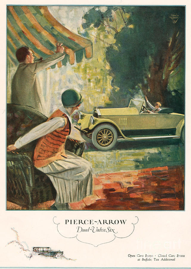 Pierce Arrow 1925 1920s Usa Cc Cars Drawing  - Pierce Arrow 1925 1920s Usa Cc Cars Fine Art Print