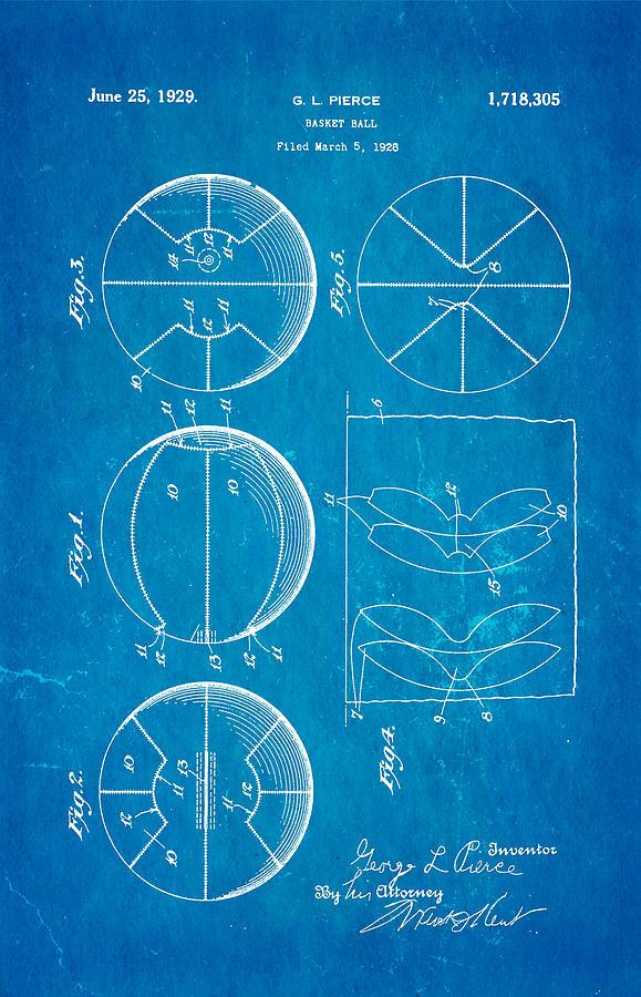 Pierce Basketball Patent Art 1929 Blueprint Photograph