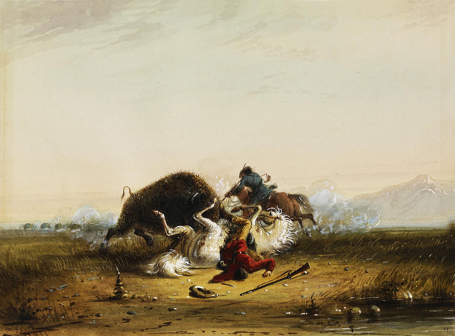 Alfred Jacob Miller Digital Art - Pierre And The Buffalo by Alfred Jacob Miller