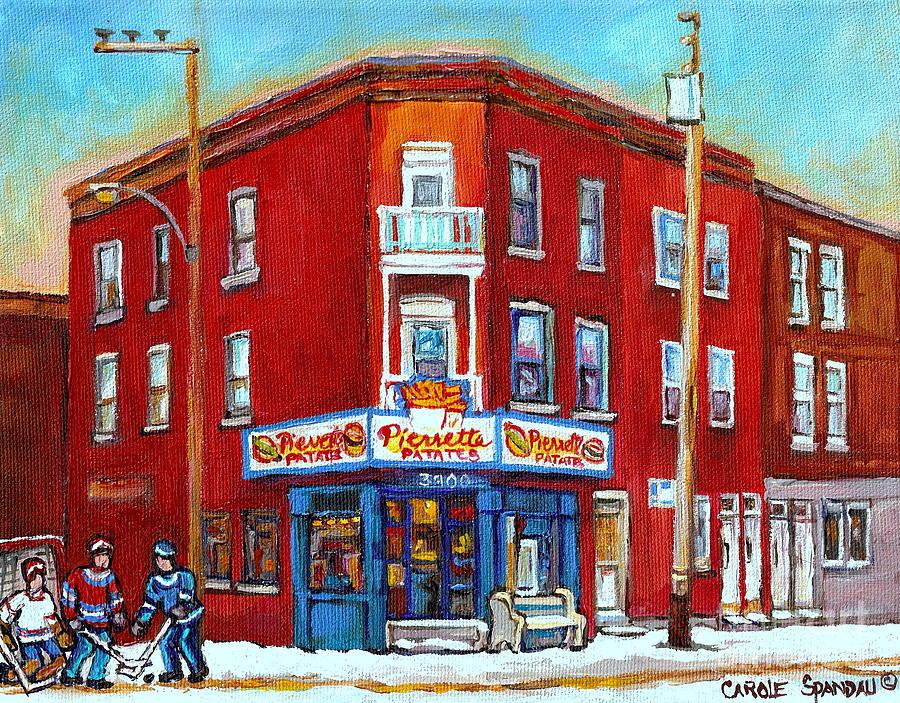 Pierrette Patates Restaurant - Paintings Of Verdun - Verdun Winter Scenes -verdun Hockey Scenes Painting