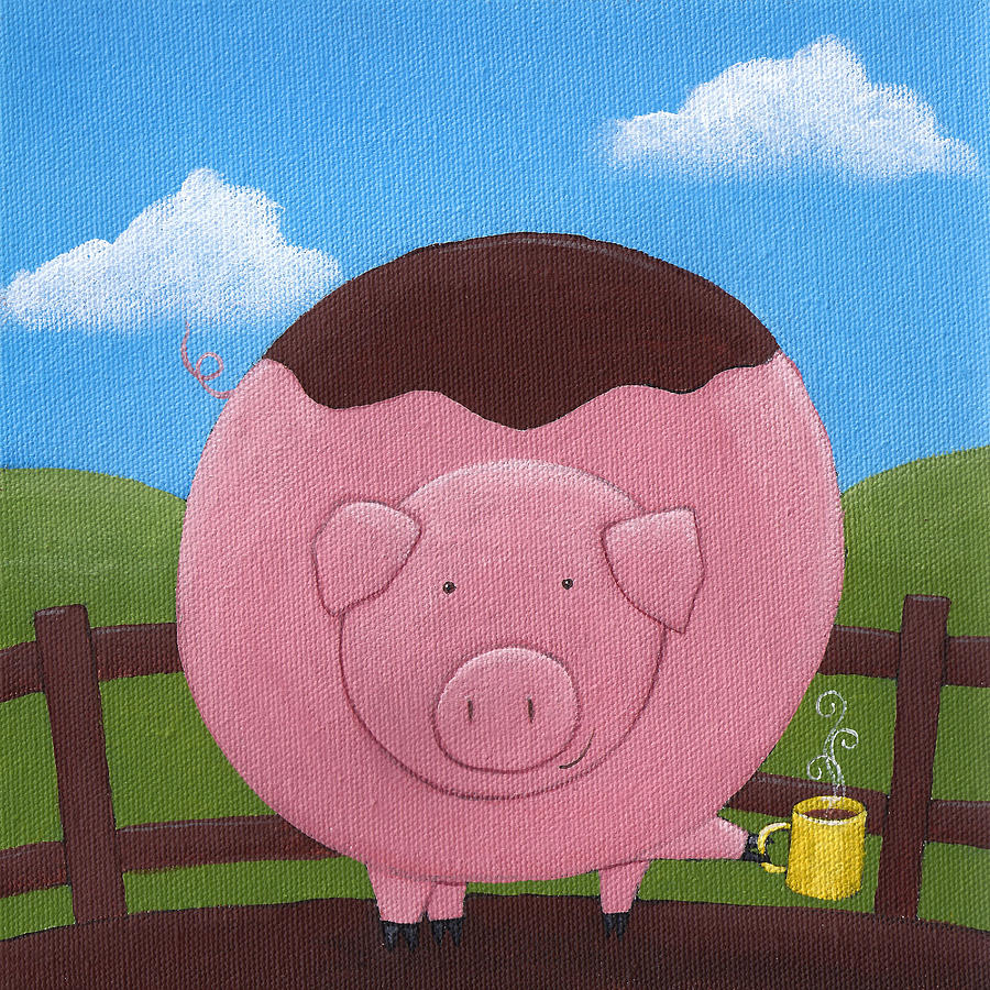 Pig Painting - Pig Nursery Art by Christy Beckwith
