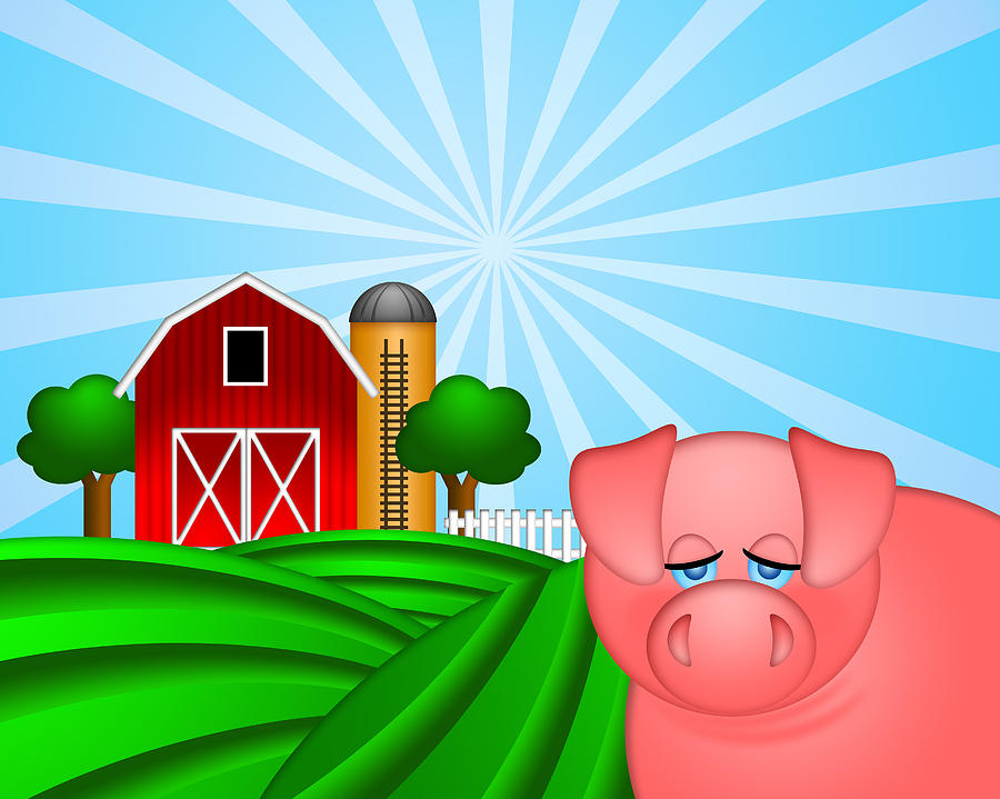 Pig On Green Pasture With Red Barn With Grain Silo  Digital Art