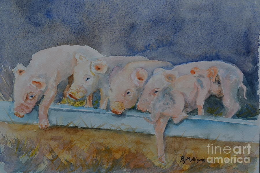 Pig Painting - Piglets by Betty Mulligan