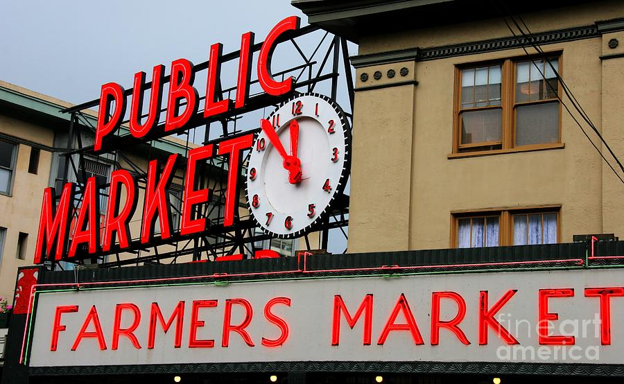 Pike Place Farmers Market Sign Photograph