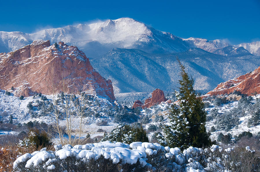 Colorado Photograph - Pikes Peak In Winter by John Hoffman