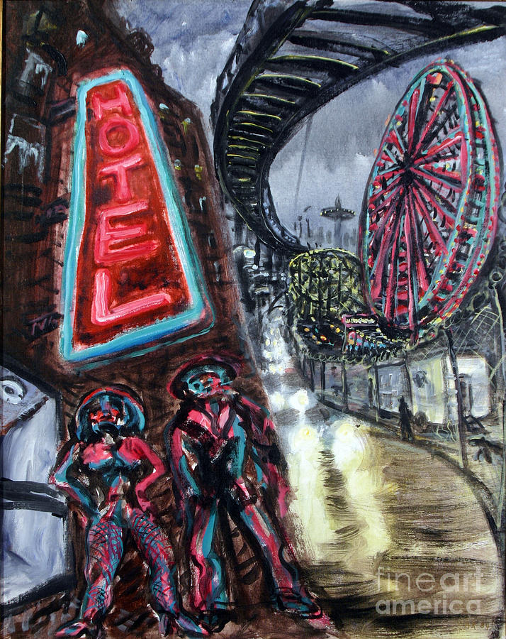 Pimp And Prostitute In Coney Island Painting
