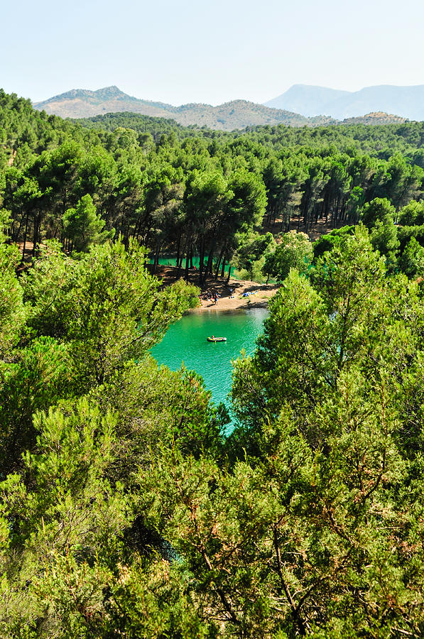 Pine Forests With Mountainous Backdrops Surround Turquoise Lakes Photograph