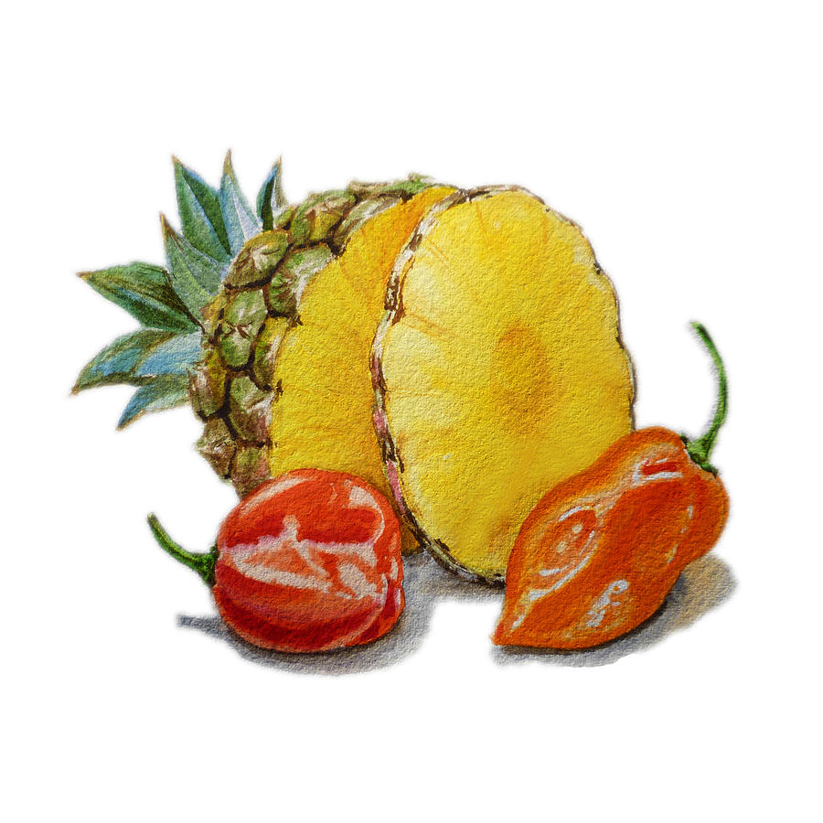 Hot Painting - Pineapple Habanero Muy Caliente   by Irina Sztukowski
