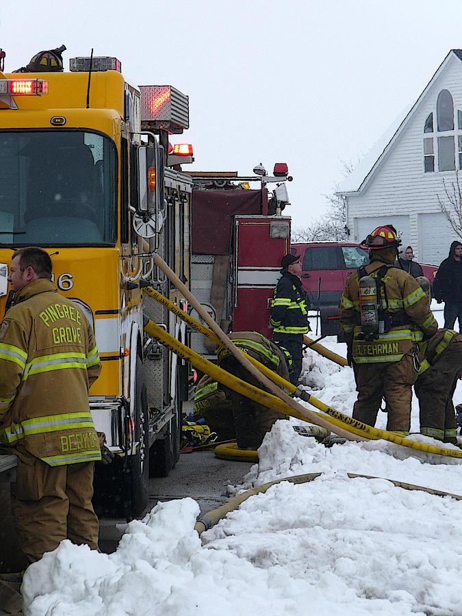 Winter Photograph - Pingree Grove Fire Department by David Bearden