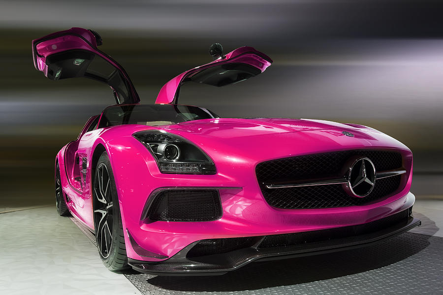 Pink 2014 mercedes benz sls amg photograph by jerome obille for Pink mercedes benz