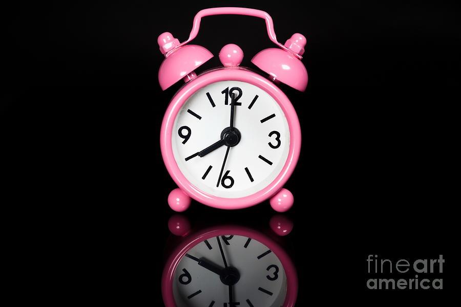 Alarm Photograph - Pink Alarm Clock by Niphon Chanthana