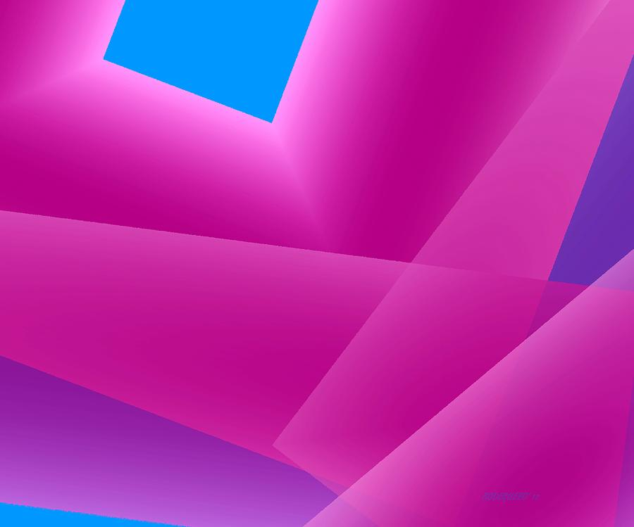 Pink And Blue Mixed Geometrical Art Digital Art