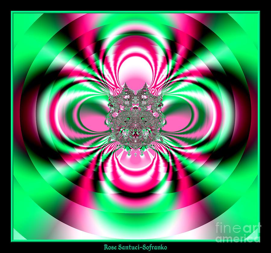 Flower Digital Art - Pink And Green Rotating Flower Fractal 74  by Rose Santuci-Sofranko
