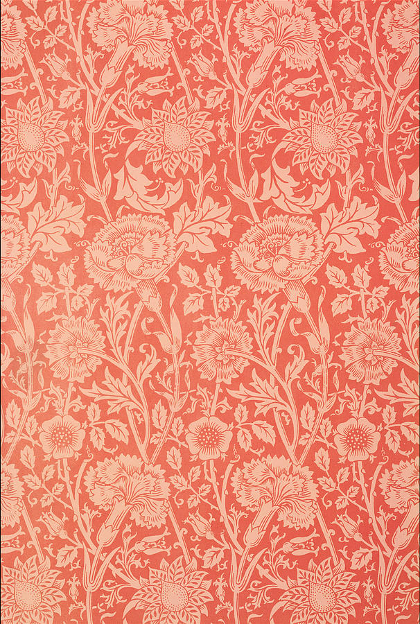 Pink And Rose Wallpaper Design Tapestry - Textile