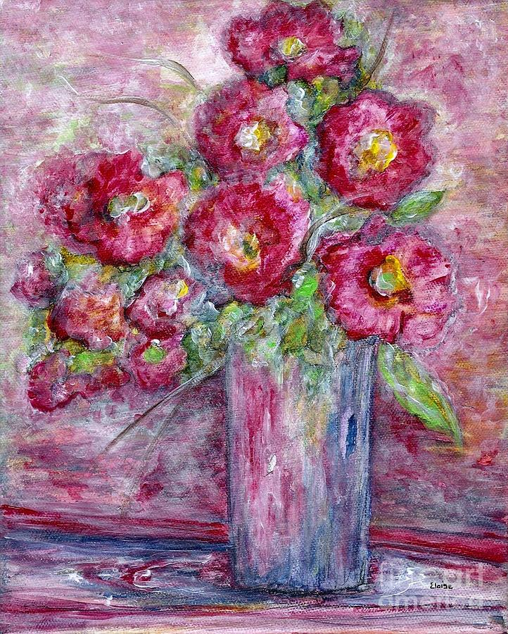 Watercolor Painting - Pink Beauties In A Blue Crystal Vase by Eloise Schneider