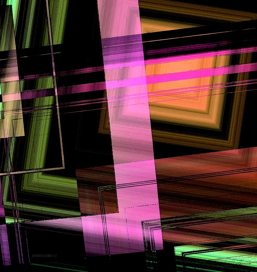 Pink Brown And Green Abstract Geometric Digital Art