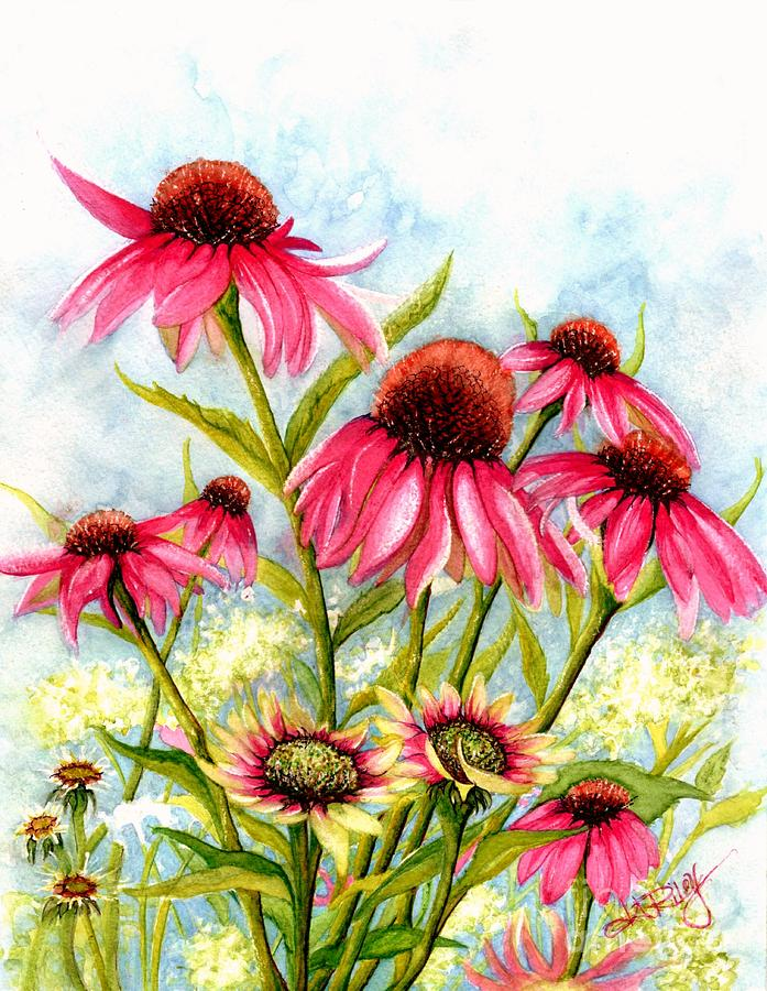 Pink Coneflowers Painting