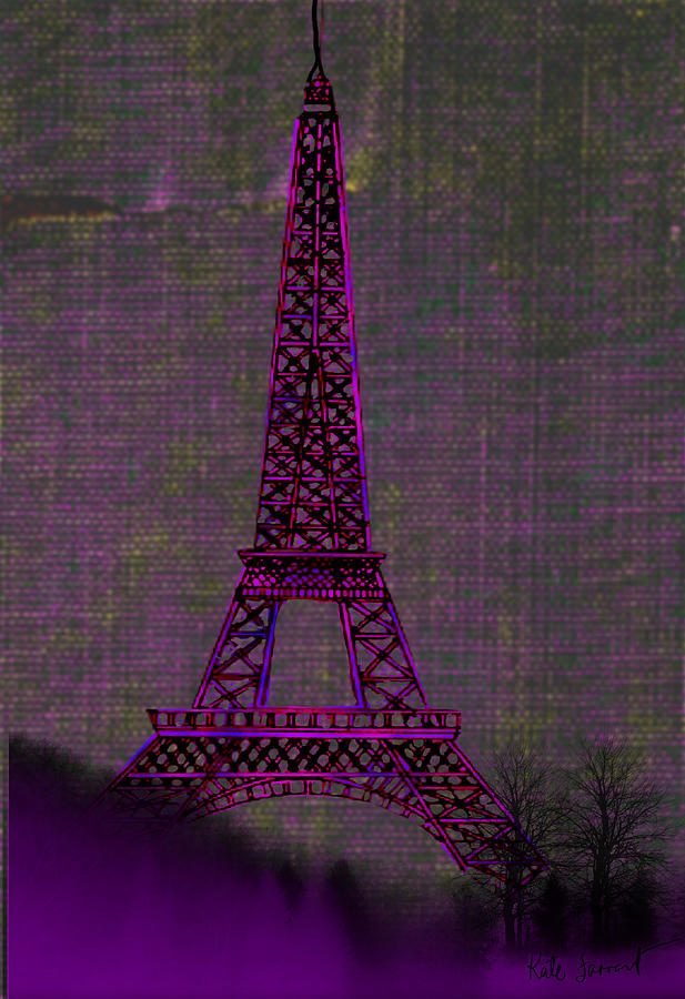 Pink Eiffel Tower Digital Art