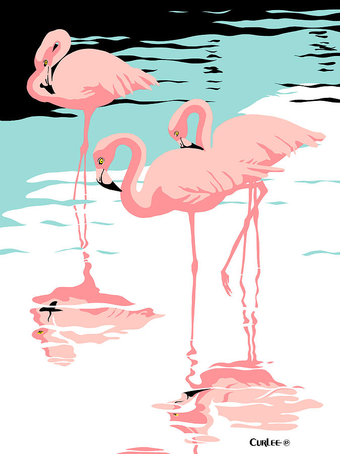 Pink Flamingos Tropical 1980s Pop Art Nouveau Graphic Art Retro Stylized Florida Scene Print Painting  - Pink Flamingos Tropical 1980s Pop Art Nouveau Graphic Art Retro Stylized Florida Scene Print Fine Art Print