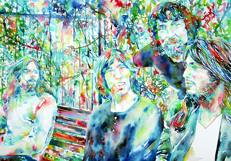 Pink Floyd At The Park Watercolor Portrait Painting  - Pink Floyd At The Park Watercolor Portrait Fine Art Print