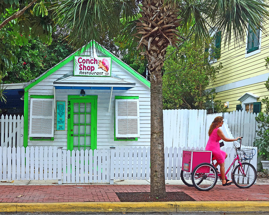 Key West Conch Shop Photograph - Pink Lady And The Conch Shop  by Rebecca Korpita