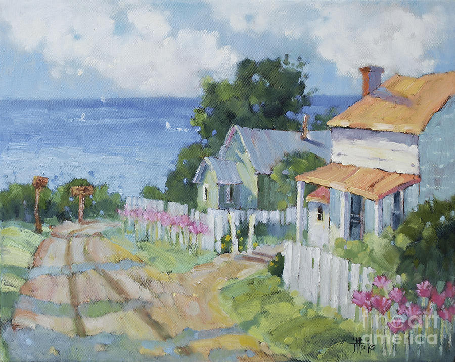 Pink Lady Lilies By The Sea By Joyce Hicks Painting  - Pink Lady Lilies By The Sea By Joyce Hicks Fine Art Print