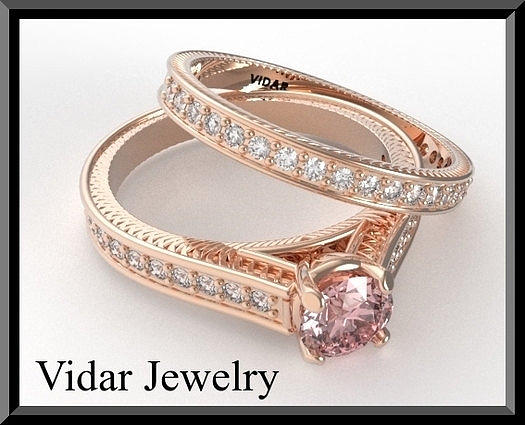 Pink Morganite And Diamond 14k Wedding Ring And Engagement Ring Set Jewelry