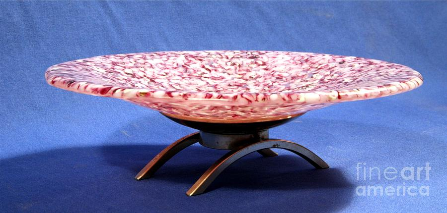 Pink Murrini Bowl With Stand Image B Glass Art