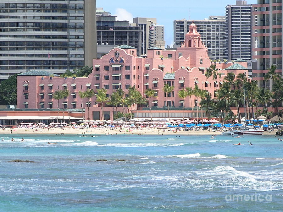 Pink Palace On Waikiki Beach Photograph  - Pink Palace On Waikiki Beach Fine Art Print