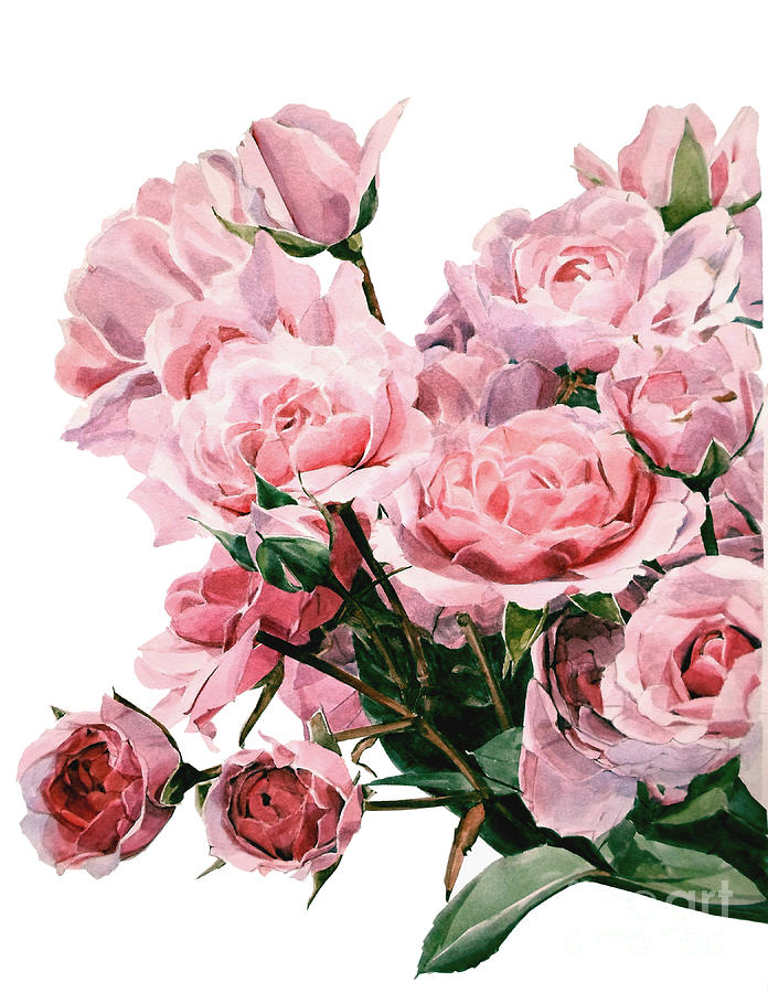 Pink Rose Bouquet Painting