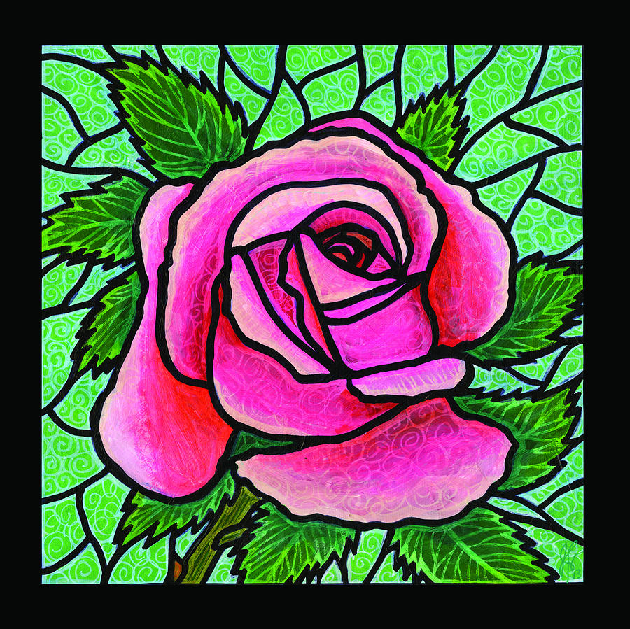 Pink Rose Number 5 Painting  - Pink Rose Number 5 Fine Art Print