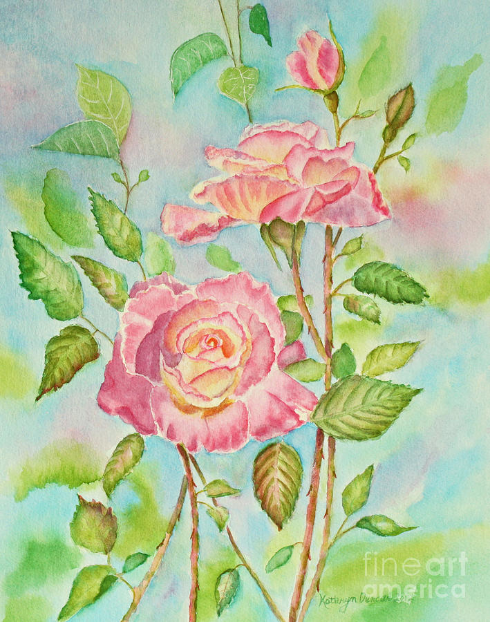 Pink Roses And Bud Painting  - Pink Roses And Bud Fine Art Print