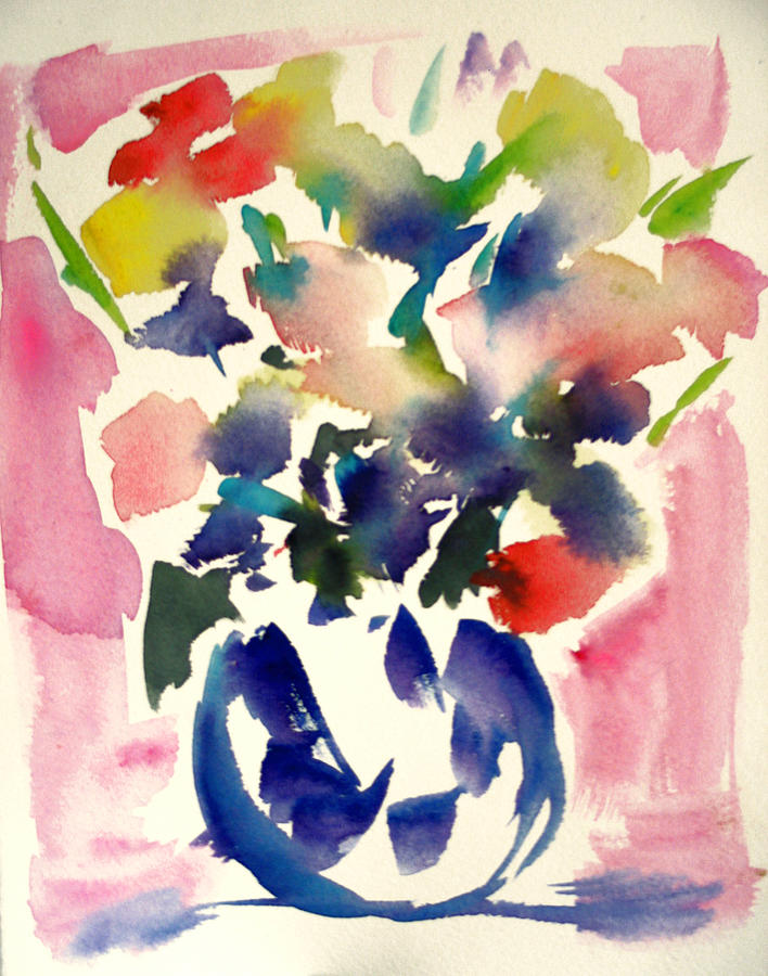 Pink Roses In A Blue Vase Painting