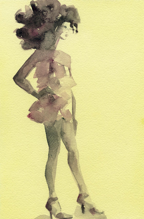 Pink Ruffled Mini Dress Watercolor Fashion Illustration Art Print Painting  - Pink Ruffled Mini Dress Watercolor Fashion Illustration Art Print Fine Art Print