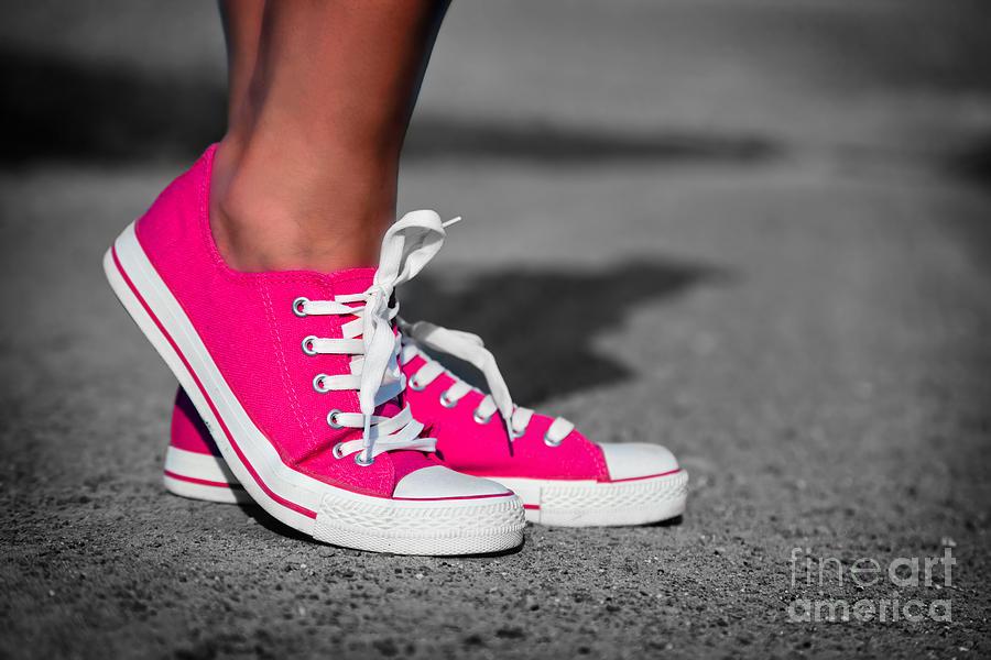 Girl Photograph - Pink Sneakers  by Michal Bednarek