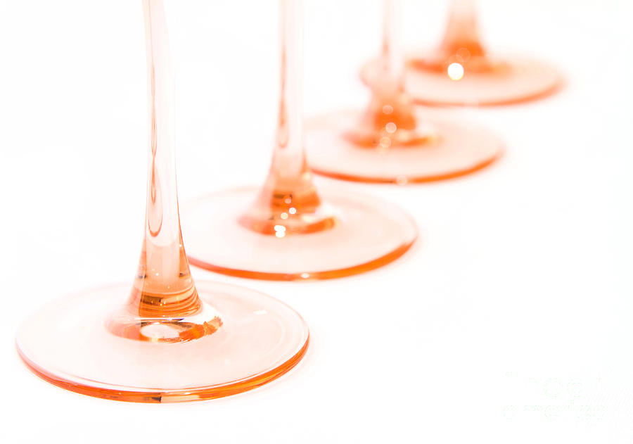 Pink Stem Wine Glasses Photograph