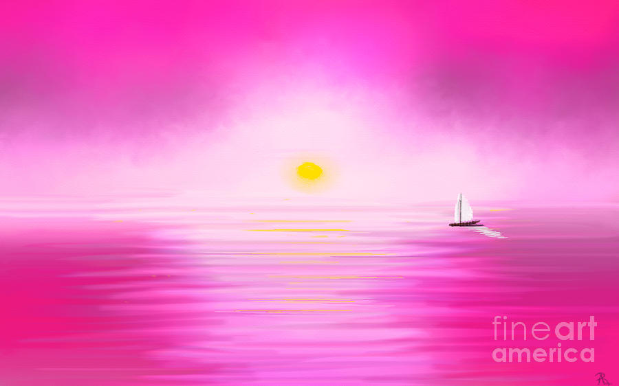 Pink Sunset Painting